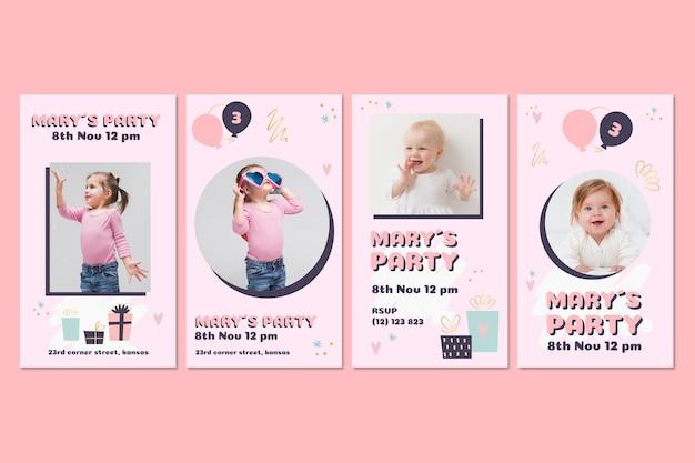 Collezione di storie di instagram di compleanno per bambini