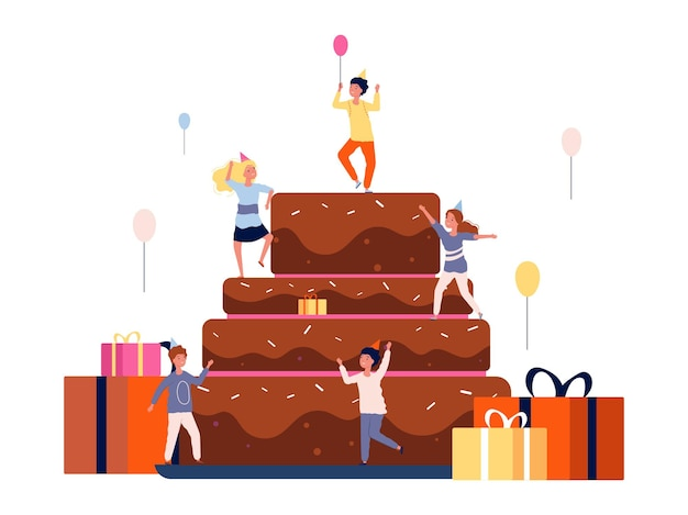 Festa di compleanno per bambini. bambini felici e torta con regali e palloncini. cartoon illustrazione piatta