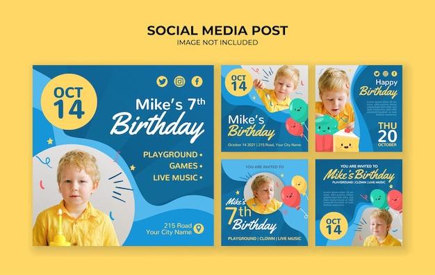 Modello di post instagram social media festa di compleanno per bambini