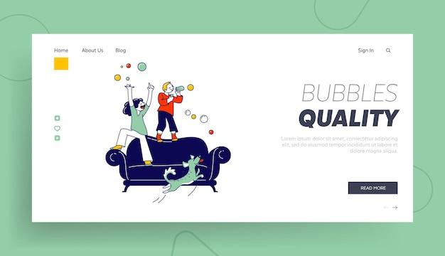 Modello di pagina di destinazione di bolle di sapone per bambini.