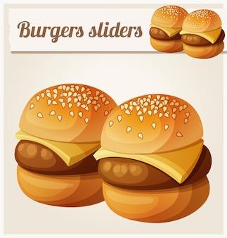 Cursori di hamburger per bambini dettagliata icona vettoriale