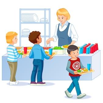 Bambini in una mensa che comprano e che mangiano il pranzo