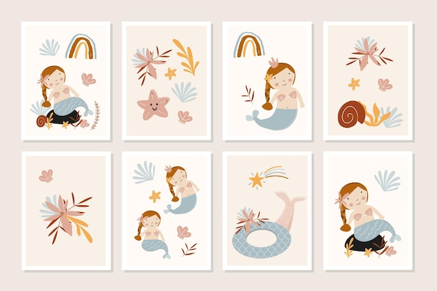Set di carte per bambini con simpatiche sirene