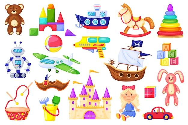 Giocattolo dei cartoni animati per bambini bambola carina orsacchiotto coniglietto aeroplano auto robot tamburo cubi blocchi