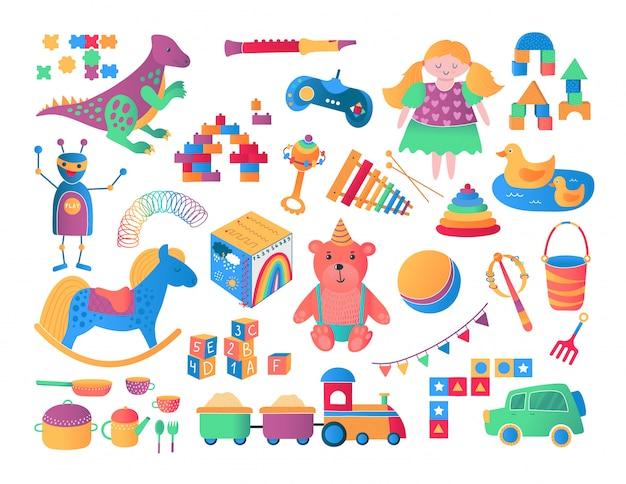 Illustrazione del fumetto della raccolta dell'icona dei giocattoli dei bambini e dei bambini.