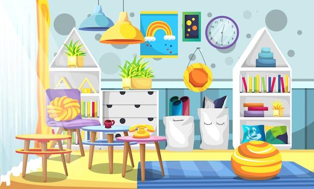 Camera bianca per bambini con mobili in stile scandinavo, lampade a soffitto, piante artificiali, orologio, tavolo e sedie per l'illustrazione di interni Vettore Premium