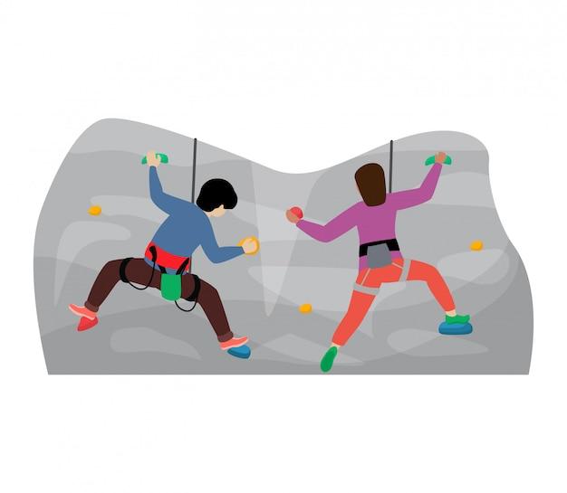 Bambini arrampicata scalatore personaggio dei bambini si arrampica sulla parete di montagna di roccia o scogliera montagnosa illustrazione set di alpinismo del bambino in sport estremo alpinista su sfondo bianco