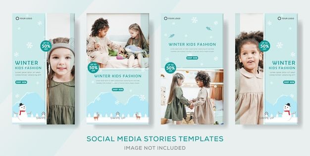 Modello di banner di abbigliamento per bambini per post di storie di vendita invernale