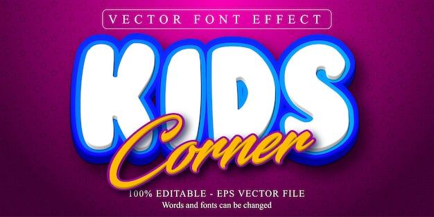 Testo angolo per bambini, effetto di testo modificabile in stile cartone animato