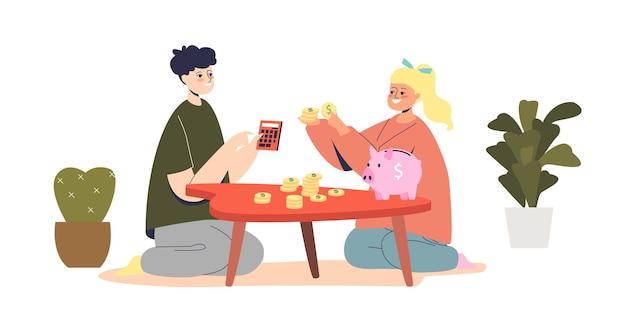Bambini che contano i soldi piccolo ragazzo e ragazza
