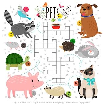 Cruciverba per bambini con animali domestici. bambini che attraversano puzzle di ricerca di parole con animali pacati come cane e gatto, tartaruga e lepre