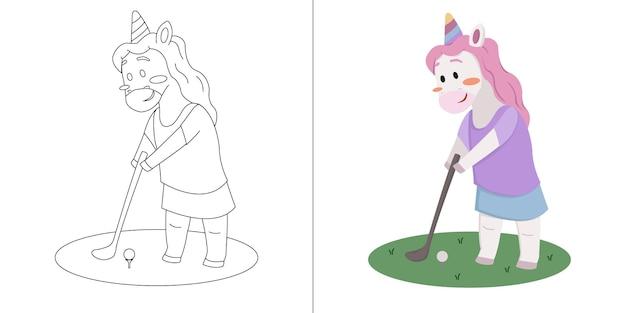 Bambini simpatico cartone animato unicorno che gioca a golf libro da colorare o pagina per bambini