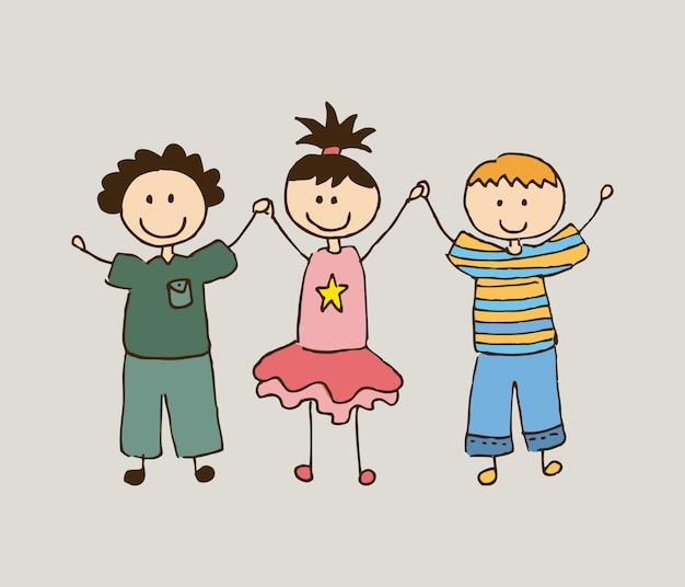 I bambini progettano sopra l'illustrazione beige di vettore del fondo