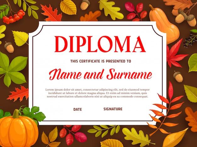 Diploma per bambini, certificato con foglie d'autunno.