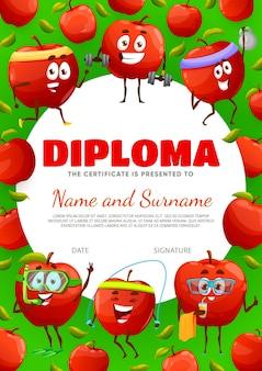 Certificato di diploma per bambini con personaggi dei cartoni animati di mela rossa su sport e tempo libero, vettore. premio di apprezzamento scolastico o diploma di scuola materna con cornice di frutta mela carina con bilanciere da palestra o snorkeling