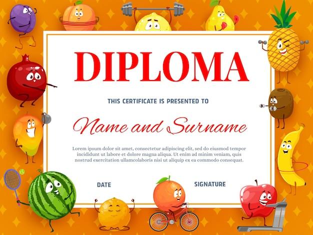 Diploma o certificato per bambini con personaggi dei cartoni animati di frutti tropicali.