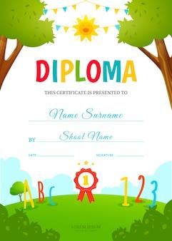 Modello di disegno del diploma per bambini. certificato di scuola materna. illustrazione vettoriale