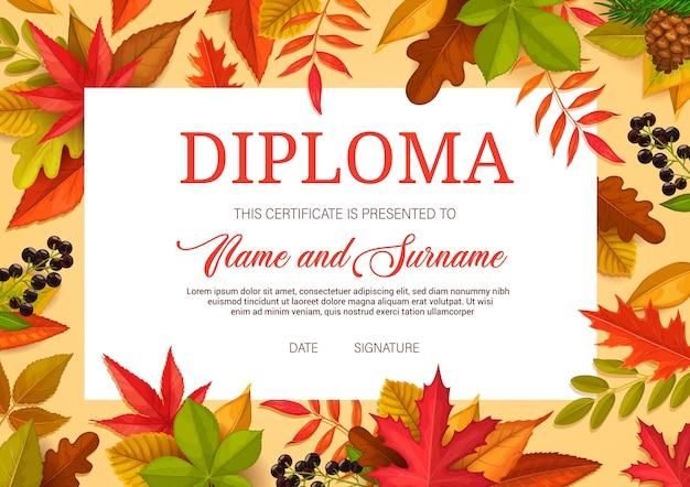 Diploma per bambini, certificato di istruzione per modello di scuola o asilo con foglie d'autunno. confine premio bambino per la laurea e la formazione scolastica, il raggiungimento delle lezioni, la partecipazione