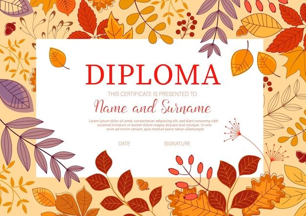 Modello di diploma per bambini con foglie d'autunno.