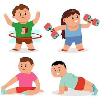 I bambini che fanno gli esercizi di forma fisica hanno messo i caratteri isolati su un bianco.