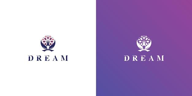 Concetto di logo kids dream vettore icona logo kids moon simbolo del logo bambino e albero