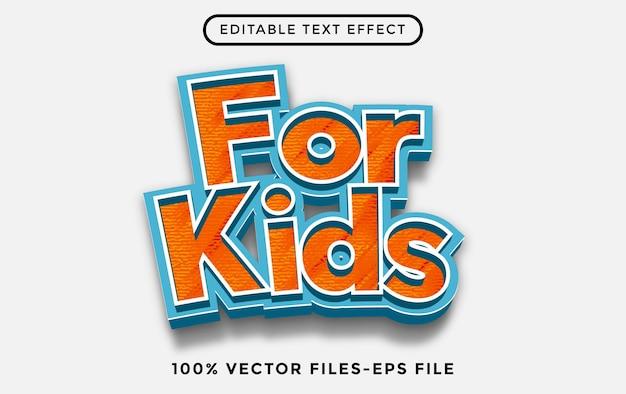 Per i bambini l'effetto di testo modificabile dei cartoni animati vettoriali premium