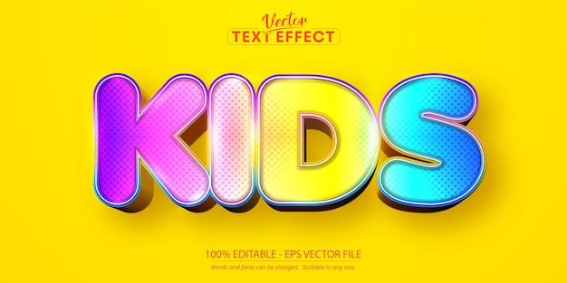 Effetto testo modificabile per bambini stile carattere dolce e colorato dei cartoni animati