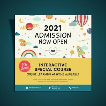 Design flyer quadrato di ammissione all'istruzione per bambini