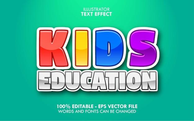 Educazione per bambini, effetto di testo modificabile in stile cartone animato