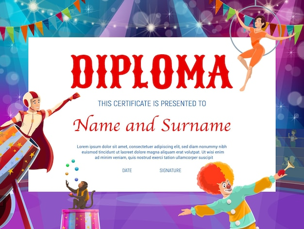 Diploma di educazione dei bambini con palcoscenico circense e personaggi shapito. certificato vettoriale di conseguimento, diploma di scuola superiore e premio vincitore del concorso con cornice di sfondo di clown e acrobata