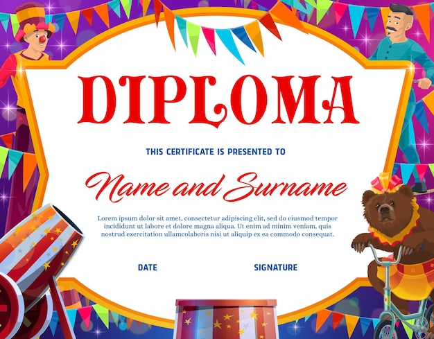 Diploma di istruzione per bambini con bordo cornice vettoriale di personaggi del circo shapito. diploma di scuola superiore o certificato di successo prescolare con pagliaccio del circo dei cartoni animati, orso addestrato e acrobata