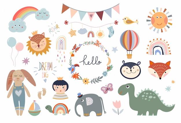 Raccolta di elementi per bambini, oggetti decorativi infantili, corona floreale, giocattoli per bambini, isolati su bianco