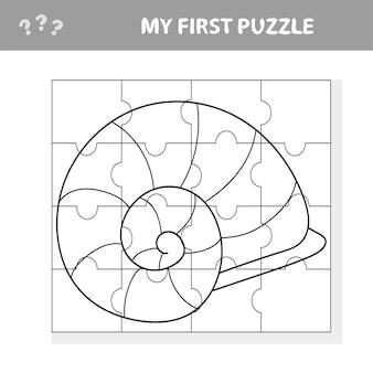 Gioco divertente per bambini con un pezzo di puzzle di conchiglie di mare in un'illustrazione vettoriale di vita marina - il mio primo puzzle e libro da colorare