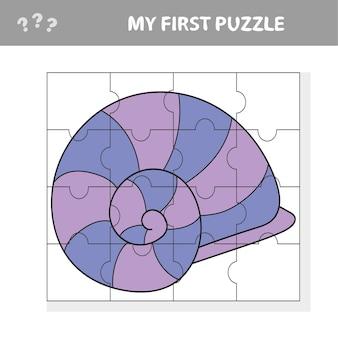 Gioco divertente per bambini con un pezzo di puzzle di conchiglie in un'illustrazione vettoriale di vita marina - il mio primo puzzle
