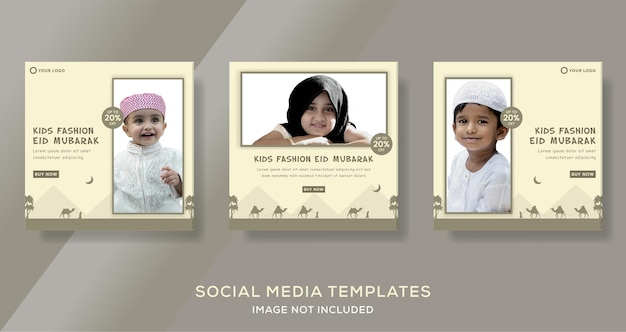 Kids fashion ramadan kareem per modello di banner post sui social media