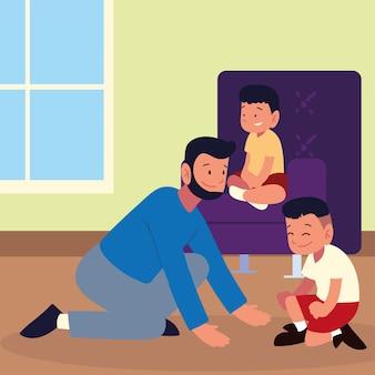Bambini e padre in soggiorno