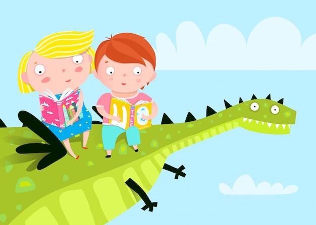 Bambini che volano libri di lettura del drago