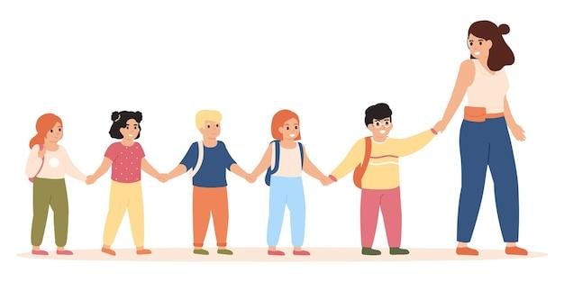 Bambini che seguono l'insegnante. la maestra d'asilo porta i bambini in classe o per l'illustrazione di gioco all'aperto