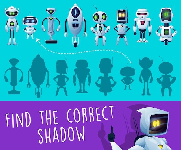 Gioco per bambini. trova un indovinello dell'ombra del robot corretto, un gioco di puzzle o un bambino in età prescolare