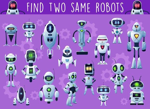Gioco per bambini con robot e droidi. attività di gioco del bambino, indovinello o puzzle educativo