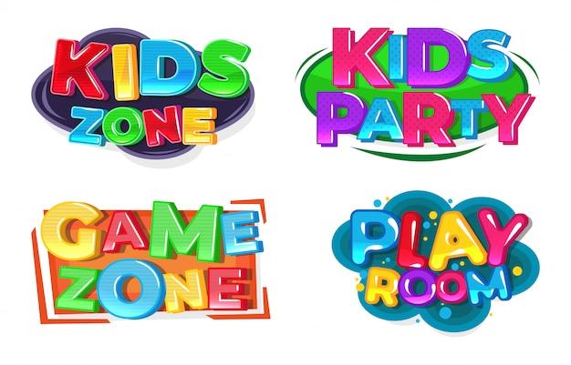Logo della zona giochi per bambini. sala giochi.