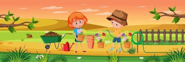 Bambini che fanno giardinaggio nella scena della natura