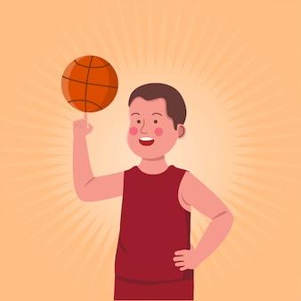 Bambini che gesturing la rotazione di pallacanestro in dito