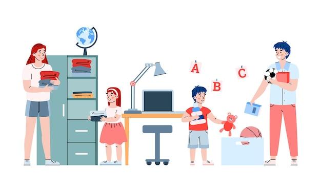 Bambini ragazza e ragazzo aiutano i genitori con i lavori domestici un fumetto illustrazione vettoriale