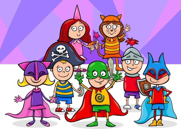 Gruppo di bambini all'illustrazione del fumetto della palla della maschera