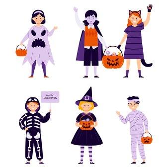 Bambini in costumi di halloween isolati su sfondo bianco illustrazione vettoriale in stile piatto