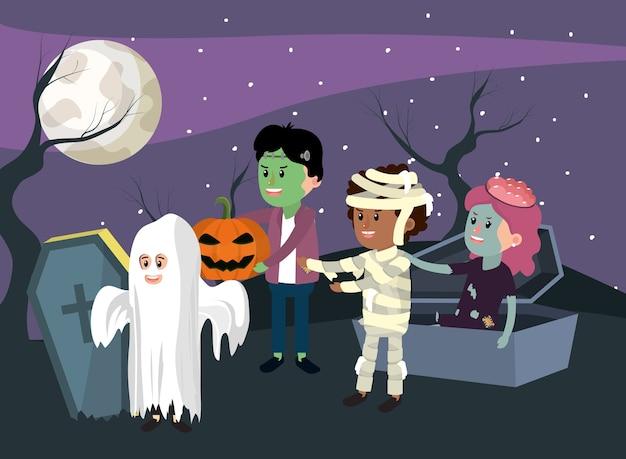 Bambini e custome di halloween