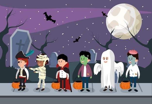 Bambini e notte di halloween