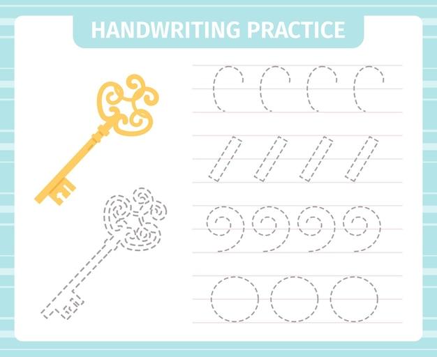 Gioco di pratica della scrittura a mano per bambini. carte pratiche educative, gioco di apprendimento per bambini