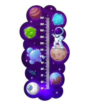 Grafico dell'altezza dei bambini, astronauta dei cartoni animati e misuratore di crescita dei pianeti spaziali. adesivo murale vettoriale per la misurazione dell'altezza dei bambini con scala, galassia, simpatico personaggio spaziale, stelle brillanti e meteora cadente